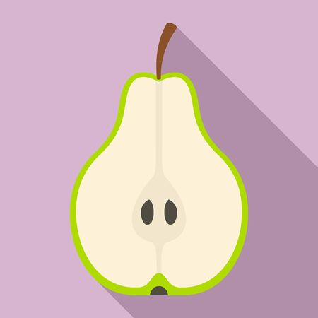 Half cut pear icon, flat style  イラスト・ベクター素材
