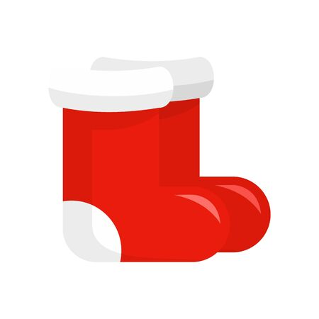 Red santa shoes icon, flat style