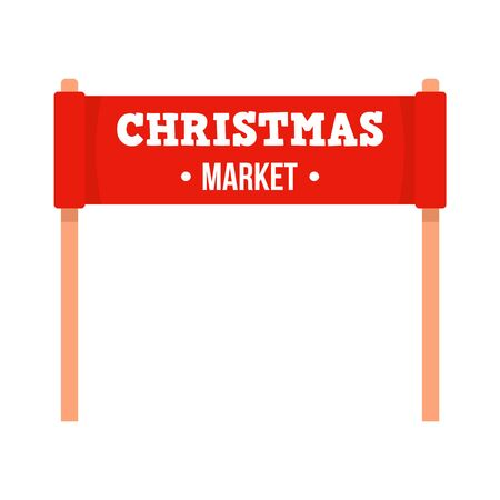 Christmas market banner icon, flat style