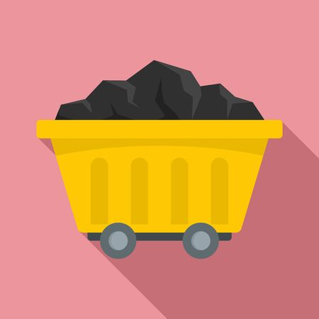 Mine coal wagon icon. Flat illustration of mine coal wagon vector icon for web design