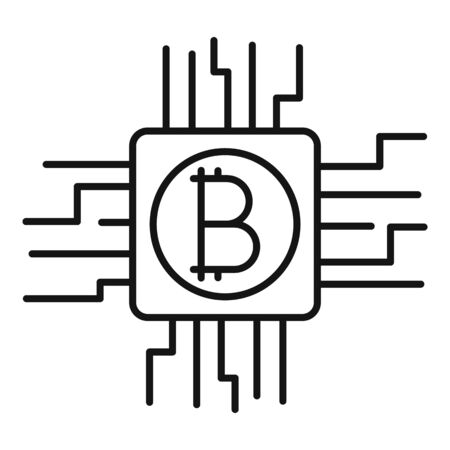 Bitcoin mining icon. Outline bitcoin mining vector icon for web design isolated on white background Stock Illustratie