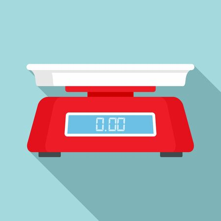 Vegetables digital scales icon, flat style 向量圖像