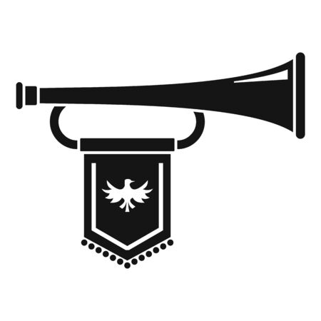 Knight trumpet icon, simple style
