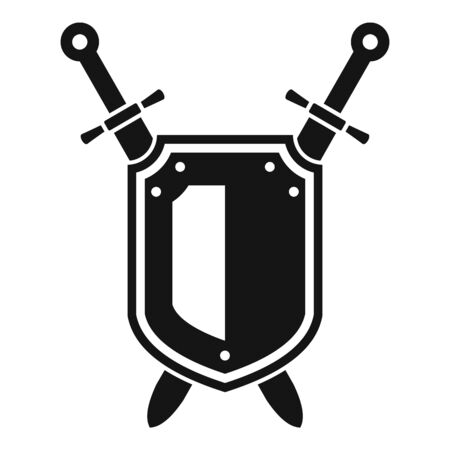Shield knight icon, simple style
