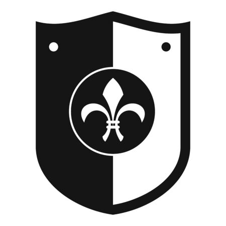Heraldic knight shield icon, simple style