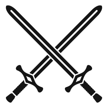 Crossed swords icon, simple style