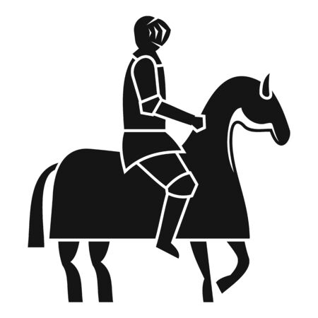 Knight on horse icon, simple style