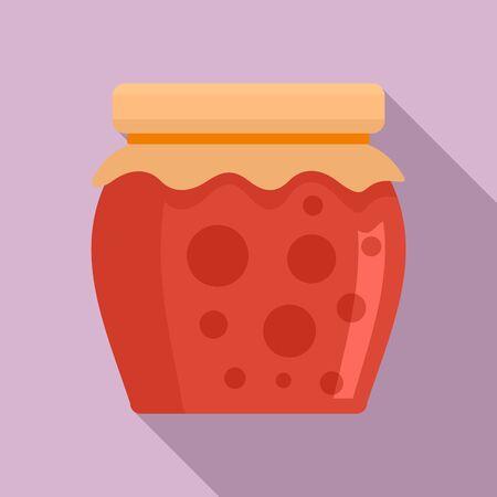 Tasty jam jar icon, flat style