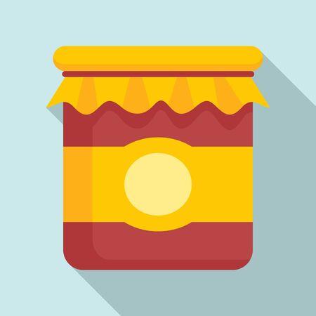 Eco jam jar icon, flat style