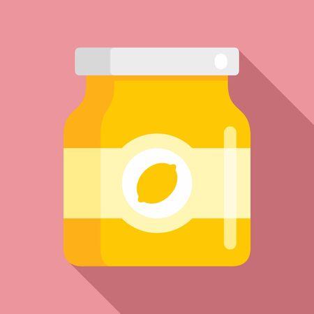 Lemon jam jar icon, flat style