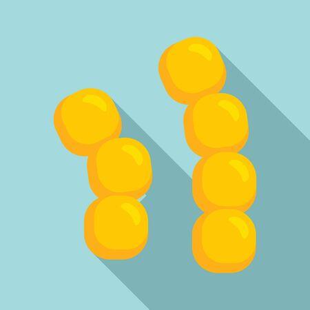 Grain bacteria icon, flat style 向量圖像