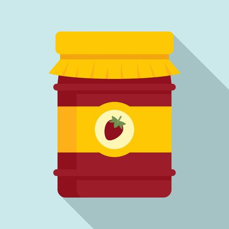 Strawberry jam jar icon, flat style 向量圖像