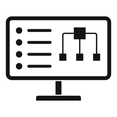 Diagram on monitor icon, simple style Ilustracja