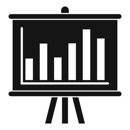 Graph bar banner icon, simple style Ilustracja