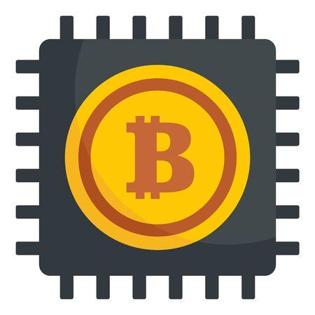 Bitcoin processor icon, flat style Ilustração