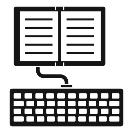 Typing book icon, simple style Stock Illustratie