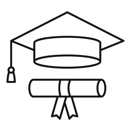 Graduated hat diploma icon, outline style