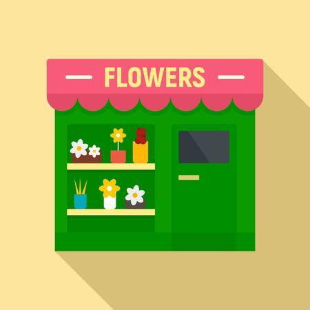 Flowers street shop icon, flat style
