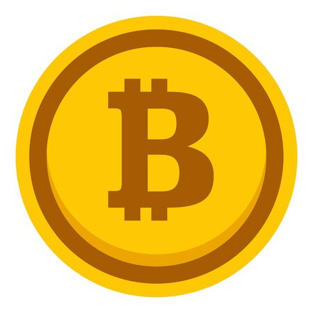 Gold bitcoin icon. Flat illustration of gold bitcoin vector icon for web design