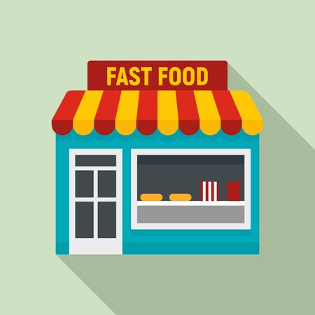 Fast food shop icon. Flat illustration of fast food shop vector icon for web design Stock Illustratie