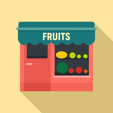 Fruits street shop icon. Flat illustration of fruits street shop vector icon for web design
