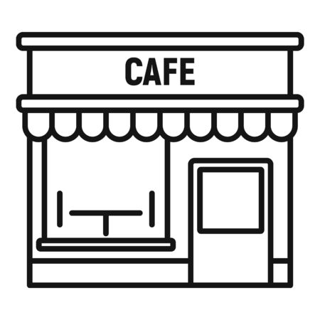 Cafe street shop icon. Outline cafe street shop vector icon for web design isolated on white background