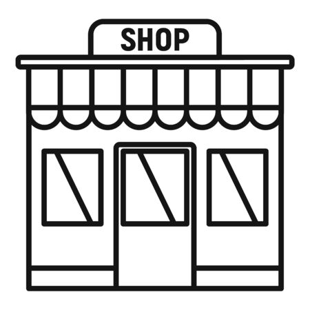 Street shop icon. Outline street shop vector icon for web design isolated on white background