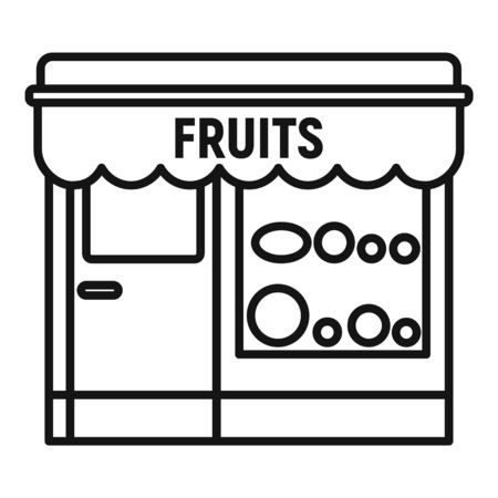 Fruits street shop icon. Outline fruits street shop vector icon for web design isolated on white background Illustration