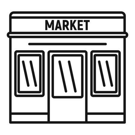 Street market icon. Outline street market vector icon for web design isolated on white background