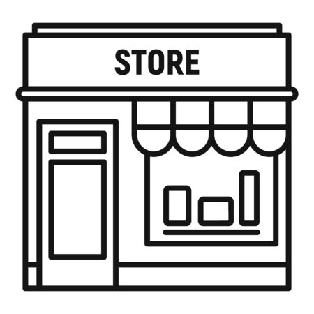 Street shop store icon. Outline street shop store vector icon for web design isolated on white background