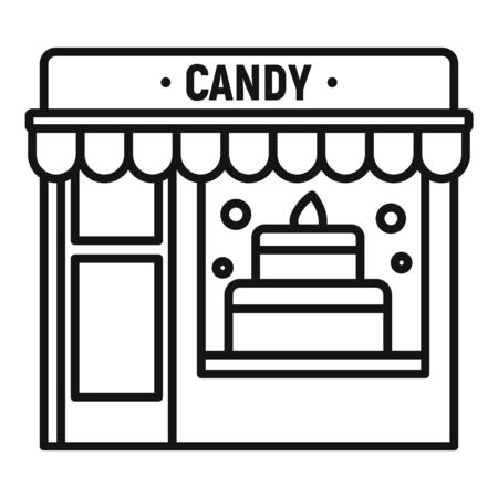 Candy street shop icon. Outline candy street shop vector icon for web design isolated on white background