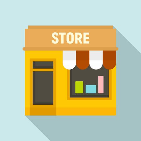 Street shop store icon. Flat illustration of street shop store vector icon for web design Stock Illustratie