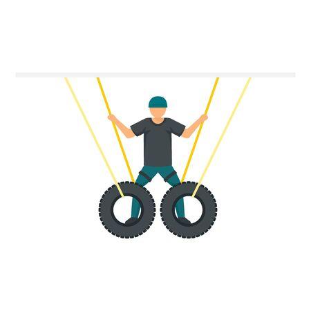 Man zip line tires icon. Flat illustration of man zip line tires vector icon for web design