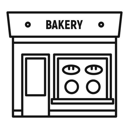 Bakery street shop icon. Outline bakery street shop vector icon for web design isolated on white background