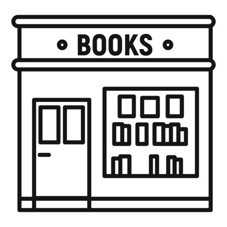 Books store icon. Outline books store vector icon for web design isolated on white background