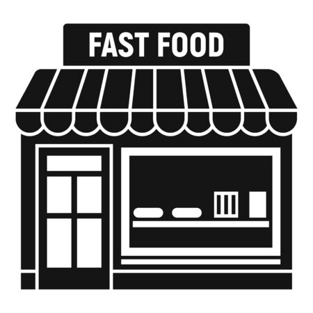 Fast food shop icon. Simple illustration of fast food shop vector icon for web design isolated on white background Stock Illustratie