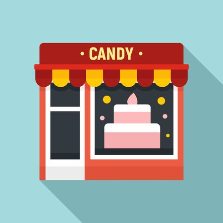 Candy street shop icon. Flat illustration of candy street shop vector icon for web design