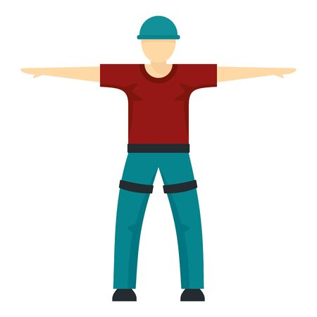 Man ready for zip line icon. Flat illustration of man ready for zip line vector icon for web design