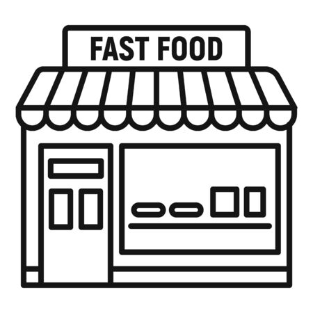 Fast food shop icon. Outline fast food shop vector icon for web design isolated on white background Stock Illustratie