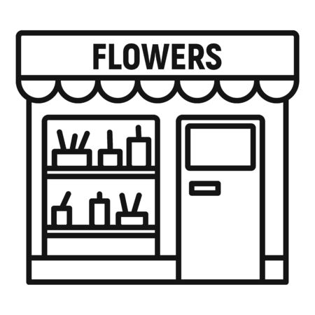 Flowers street shop icon. Outline flowers street shop vector icon for web design isolated on white background Stock Illustratie