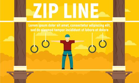 Forest zip line concept banner. Flat illustration of forest zip line vector concept banner for web design Çizim