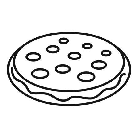 Cookie icon, outline style Ilustração
