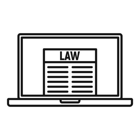 Law laptop icon, outline style