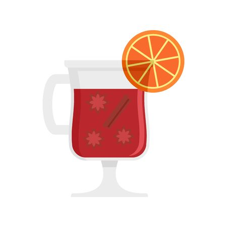 Mulled wine drink icon, flat style