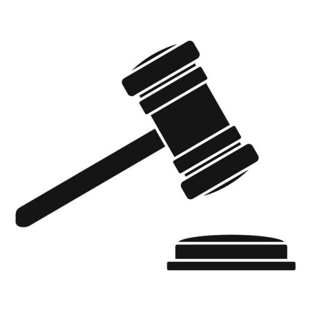 Judge gavel icon, simple style 矢量图像