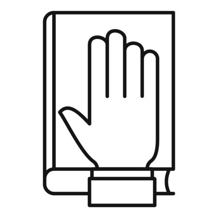 Lawyer oath icon, outline style