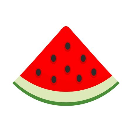 Slice of watermelon icon, flat style