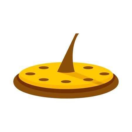 Icône de cadran solaire antique, style plat