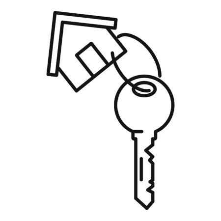 House key mortgage icon, outline style Çizim