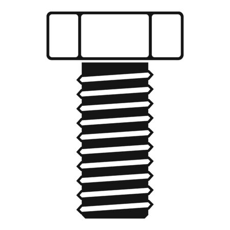 Chrome screw bolt icon, simple style Illustration